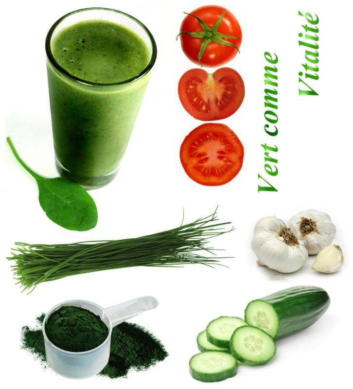 vert comme vitalité jus magique cheveux protéines soufre spiruline crudivore raw vegan